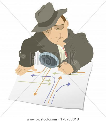Serious detective isolated. Detective in the hat is examining a document using a magnifying glass