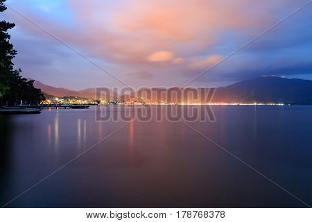 Marmaris at night from icmeler area with cloudscape