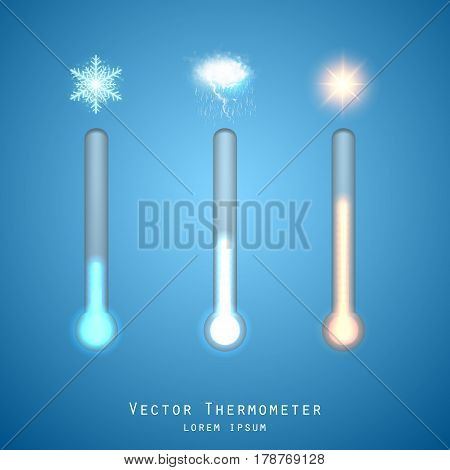 Transparent Meteorology thermometers. Cold and heat temperature. Vector illustration. Celsius and fahrenheit