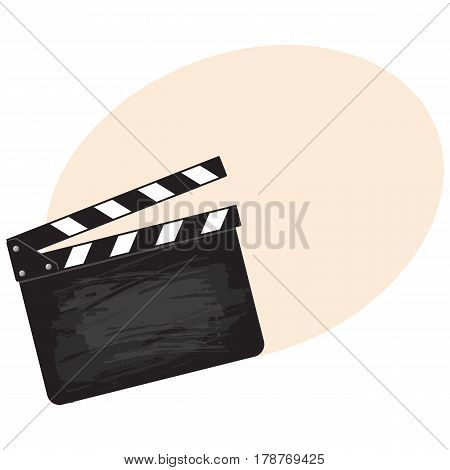 Blank cinema production black clapper board, sketch style vector illustration with place for text. Classical traditional cinema, motion picture production clapperboard, clapper board