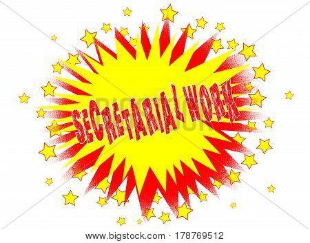 A cartoon style secretarial work splash explosive motif over a white background
