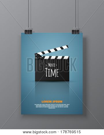 Cinema festival Flyer Or Poster With Clapper Board. Vector Illustration Of Film Industry. Template For Your Design