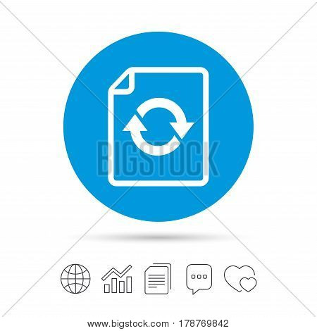 File document refresh icon. Reload doc symbol. Copy files, chat speech bubble and chart web icons. Vector