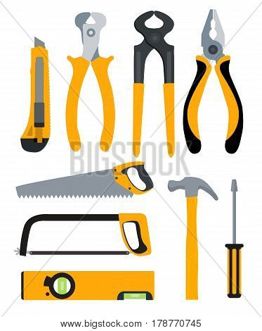 Set of Isolated Icons Building Tools for Repair. Pliers, nippers, saw, knife, hammer, screwdriver and level.  Flat Modern Style. Vector Illustration EPS10