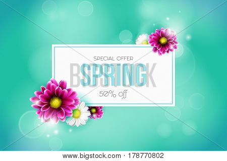 Spring sale background with beautiful colorful flower. Vector illustration template.Wallpaper. Flyers, invitation, posters, brochure, voucher discount