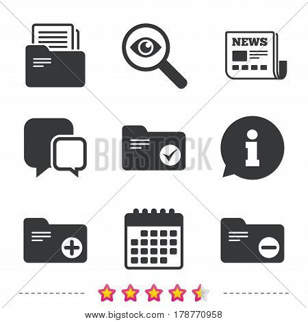Accounting binders icons. Add or remove document folder symbol. Bookkeeping management with checkbox. Newspaper, information and calendar icons. Investigate magnifier, chat symbol. Vector