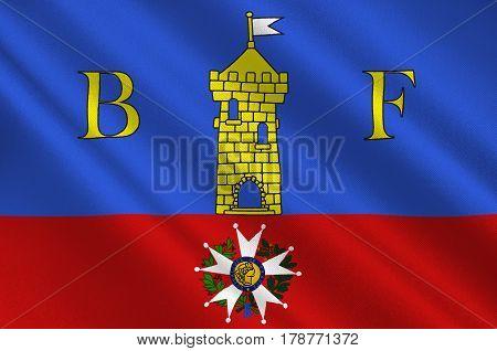 Flag of Belfort is a city in northeastern France in the Bourgogne-Franche-Comte region. 3d illustration