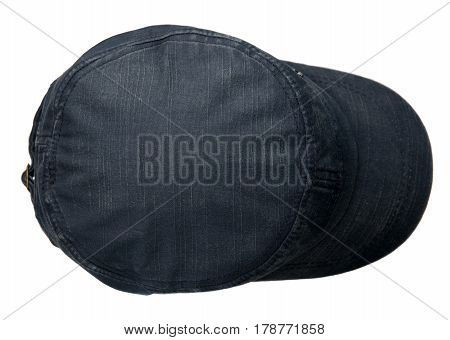 Denim  Hat Isolated On White Background. Hat With A Visor.blue Hat
