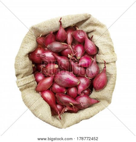 Small onions intended for planting in a linen bag view from above