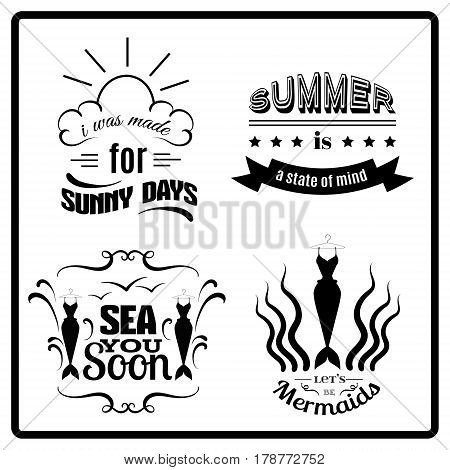 Collection of quote typographical background with creative illustration of mermaid's tail splash and seagull. Set of summery quotes isolated. Vector template for poster card and banner.