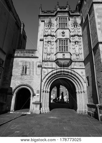 Great Gatehouse (abbey Gatehouse) In Bristol In Black And White