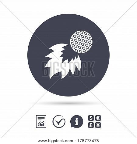 Golf fireball sign icon. Sport symbol. Report document, information and check tick icons. Currency exchange. Vector