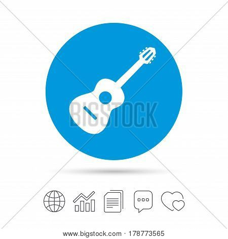 Acoustic guitar sign icon. Music symbol. Copy files, chat speech bubble and chart web icons. Vector