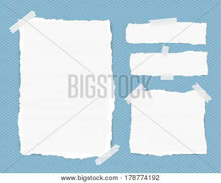 Different size white note, notebook, copybook sheets, strips stuck with sticky tape on squared blue background.