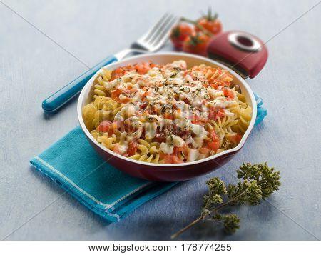 oven pasta with tomato sauce mozzarella and oregano, selective focus