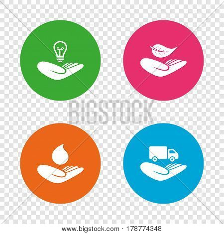 Helping hands icons. Intellectual property insurance symbol. Delivery truck sign. Save nature leaf and water drop. Round buttons on transparent background. Vector