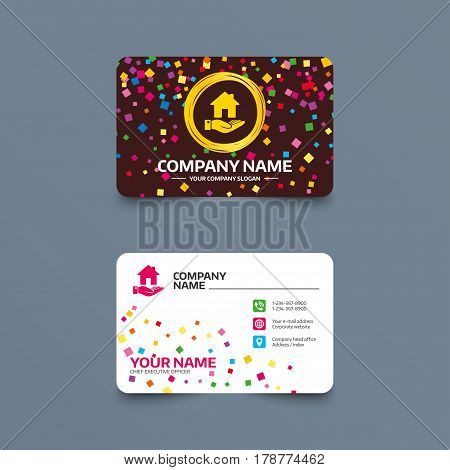 Business card template with confetti pieces. Home and hand sign icon. Palm holds house symbol. Phone, web and location icons. Visiting card  Vector