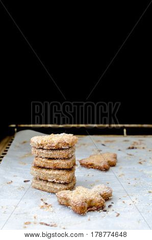 A stack of cookies on baking paper. Copy Space.Selective focus