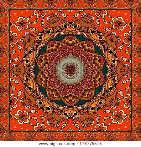 Lovely tablecloth or beautiful scarf with flower - mandala in ethnic style with ornamental frame. Vector illustration. Square carpet.