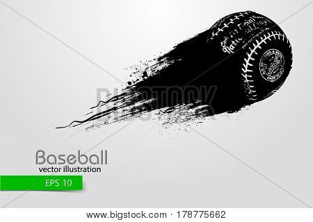 silhouette of a baseball ball. Text on a separate layer, color can be changed in one click. Vector illustration