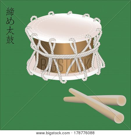 Vector illustration of Traditional asian percussion instrument Taiko or Shime Daiko drum. Japanese, Chinese, Korean musical instruments.