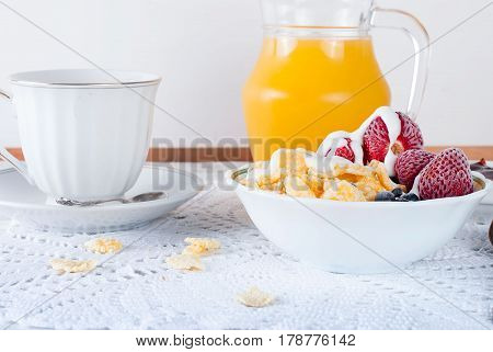 Healthy Breakfast With Granola , Strawberry, Jam And Juce