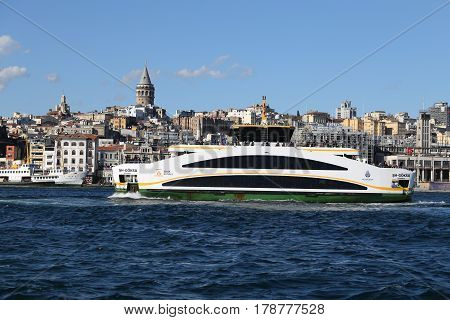 ISTANBUL TURKEY - NOVEMBER 13 2016: Sehir Hatlari ferry carry passengers between Asian side to European side of Istanbul. Sehir Hatlari was established in 1844 and now carry 150000 passengers a day.