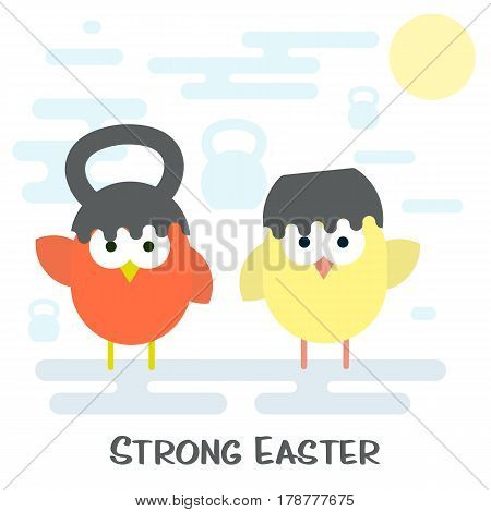 Vector flat illustration of Happy easter card concept with cracked kettlebell and chickens.