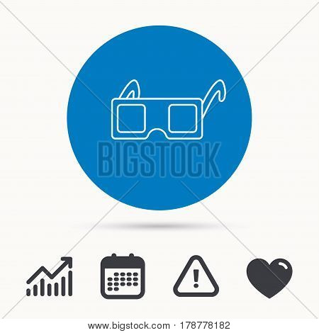 3D glasses icon. Cinema technology sign. Vision effect symbol. Calendar, attention sign and growth chart. Button with web icon. Vector