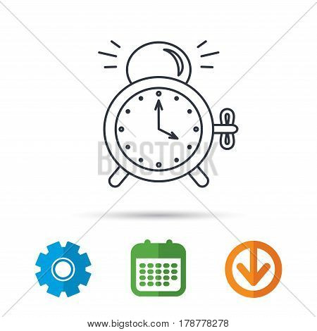 Alarm clock icon. Mechanical retro time sign. Watch with bell symbol. Calendar, cogwheel and download arrow signs. Colored flat web icons. Vector
