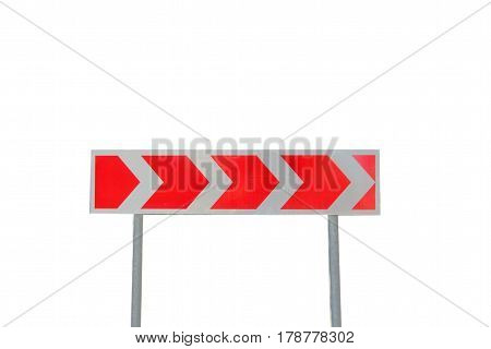 Road sign direction dangerous turn isolated on white