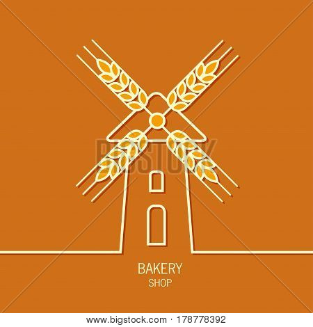 Mill bakery label logo design. Windmill and wheat ears. Mill symbol. Agriculture landscape.