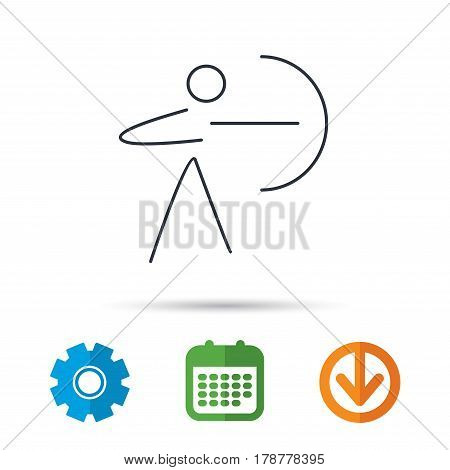 Archery sport icon. Archer with longbow sign. Aiming or targeting symbol. Calendar, cogwheel and download arrow signs. Colored flat web icons. Vector