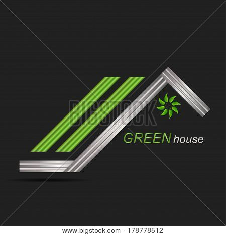 Green roof house logo icon and swoosh graphic element