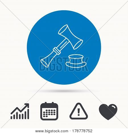 Auction hammer icon. Justice and law sign. Calendar, attention sign and growth chart. Button with web icon. Vector