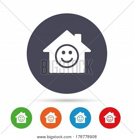 Comedy club. Smile icon. Happy face chat symbol. Round colourful buttons with flat icons. Vector
