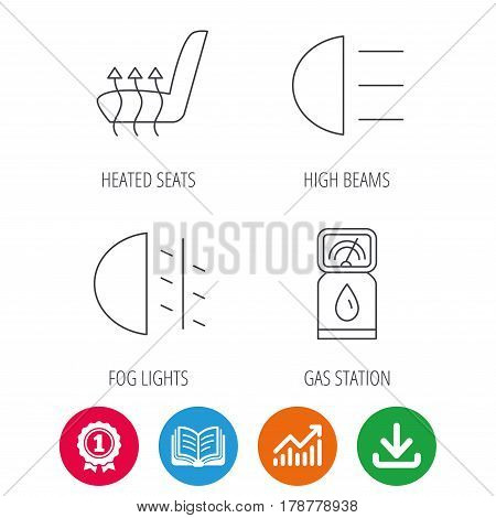 Petrol station, fog lights and heated seats icons. Gas fuel station linear sign. Award medal, growth chart and opened book web icons. Download arrow. Vector