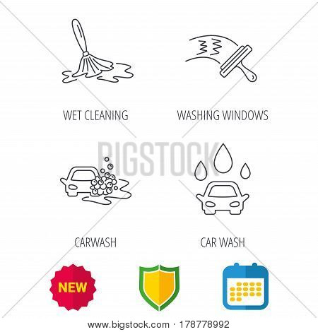 Car wash icons. Automatic cleaning station linear signs. Washing windows, wet cleaning and foam bucket flat line icons. Shield protection, calendar and new tag web icons. Vector
