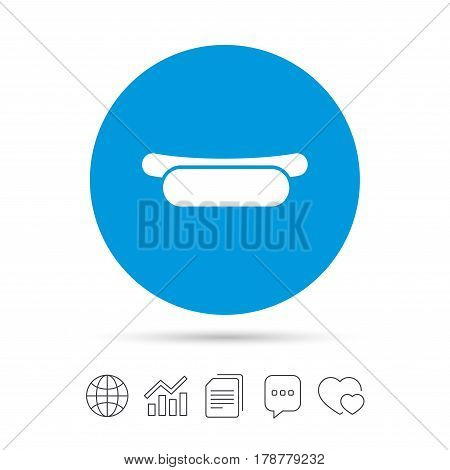Hotdog sandwich icon. Sausage symbol. Fast food sign. Copy files, chat speech bubble and chart web icons. Vector