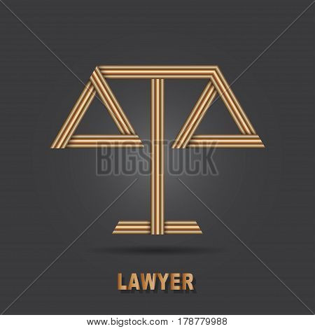 Lawyer symbol Scales vector logo design template. Legal concept. Law icon. Themis silhouette. Attorney sign.