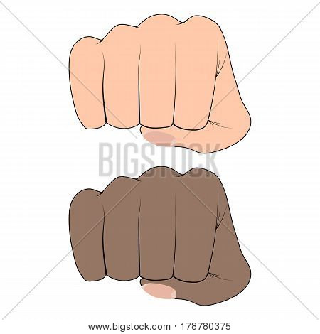 Fist of an African and a white man on a white background. Martial arts