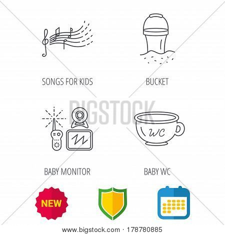 Baby wc, video monitoring and songs for kids icons. Beach bucket linear sign. Shield protection, calendar and new tag web icons. Vector