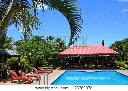 SAVUSAVU, FIJI - 15 JAN 2017: View of a pool in a Tropical resort on Viti Levu Island Fiji.