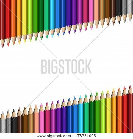 Sloping Lines of Realistic Colorful Pencils on White Background. Texture of Colored Pencils for Business Presentation Publications Blank Template Cover.