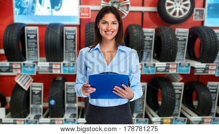 Car dealer woman
