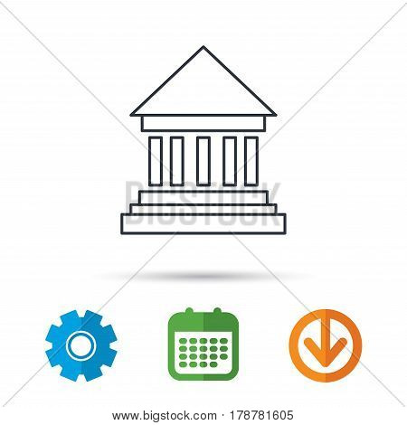 Bank icon. Court house sign. Money investment symbol. Calendar, cogwheel and download arrow signs. Colored flat web icons. Vector
