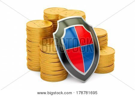 golden coins with shield financial insurance and business stability concept. 3D rendering
