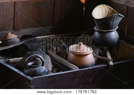 Old ancient bowl ceramic pottery in thailand