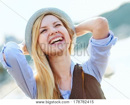 Happy Hipster Girl Rejoicing In The City