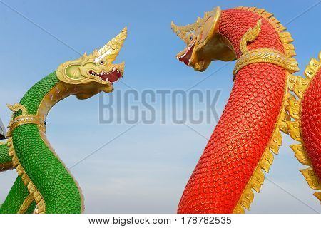 Thai dragon or king of serpent statue in thai temple